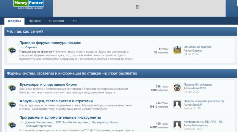 Самые популярные форумы о ставках на спорт. Moneypunter