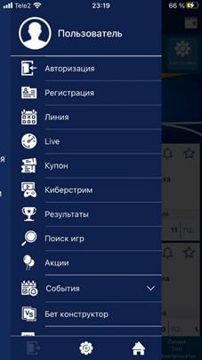 Интерфейс мобильной версии 1XСтавка на iOS